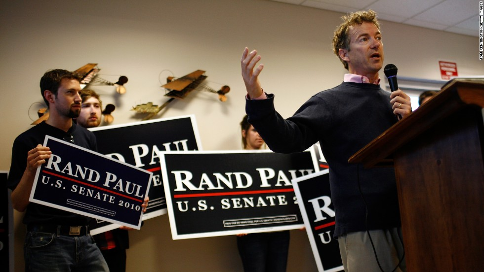 Paul speaks to hometown supporters in Bowling Green, Kentucky, during his campaign for the Senate in November 2010.
