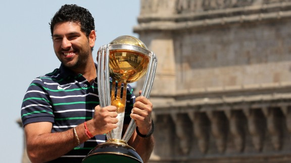 Yuvraj Singh, of the Indian national team, poses with ICC Cricket World Cup Trophy. Singh is one of the sport