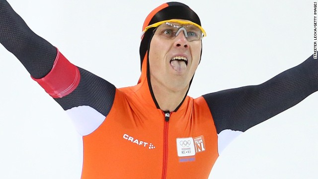 Stefan Groothuis of the Netherlands celebrates after competing during the Men's 1000m Speed Skating event during day 5 of the Sochi 2014 Winter Olympics at at Adler Arena Skating Center on February 12, 2014 in Sochi, Russia. (Photo by Streeter Lecka/Getty Images