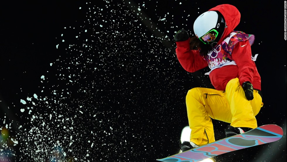 China's Liu Jiayu catches air in the women's halfpipe on February 12.