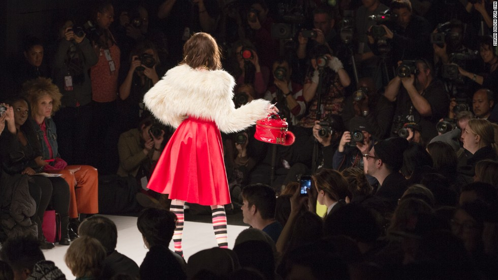 Keeping with the red-hot theme, Betsey Johnson worked with bright hues throughout her fall collection.