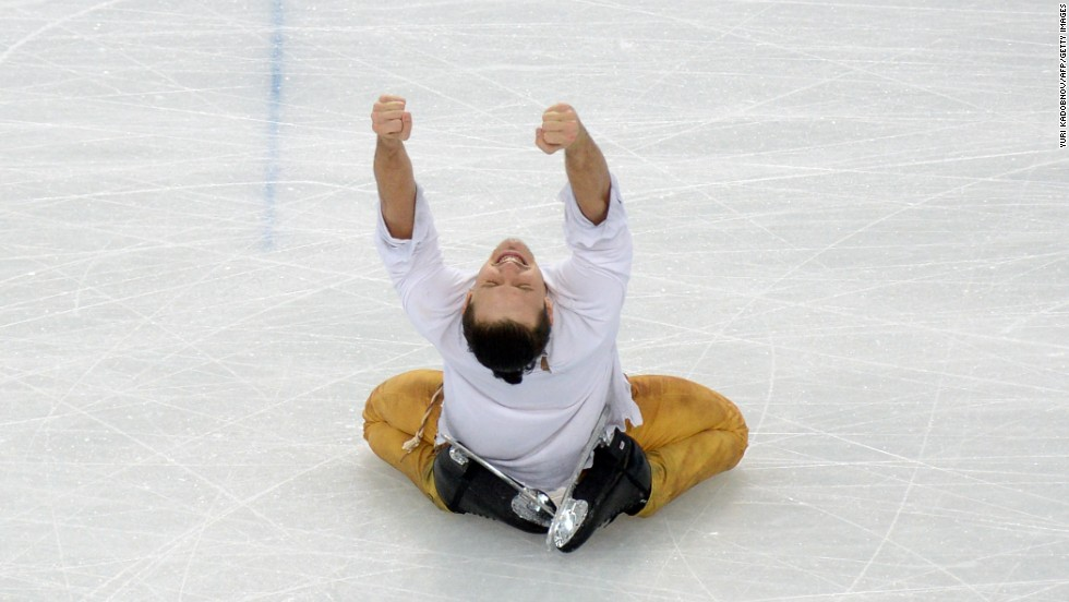 Russia's Maxim Trankov reacts after performing with Tatiana Volosozhar in pairs figure skating on February 12.
