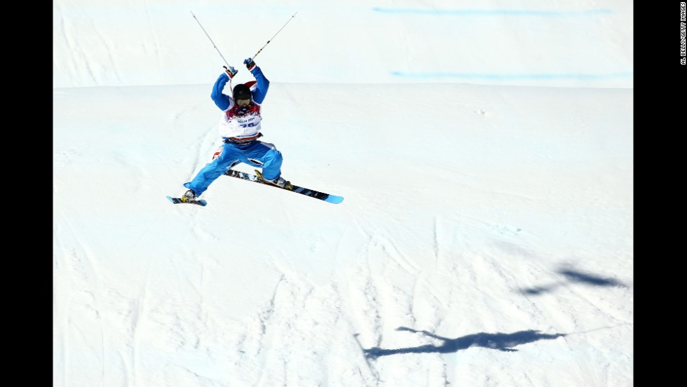 Jules Bonnaire of France competes in the men's slopestyle.
