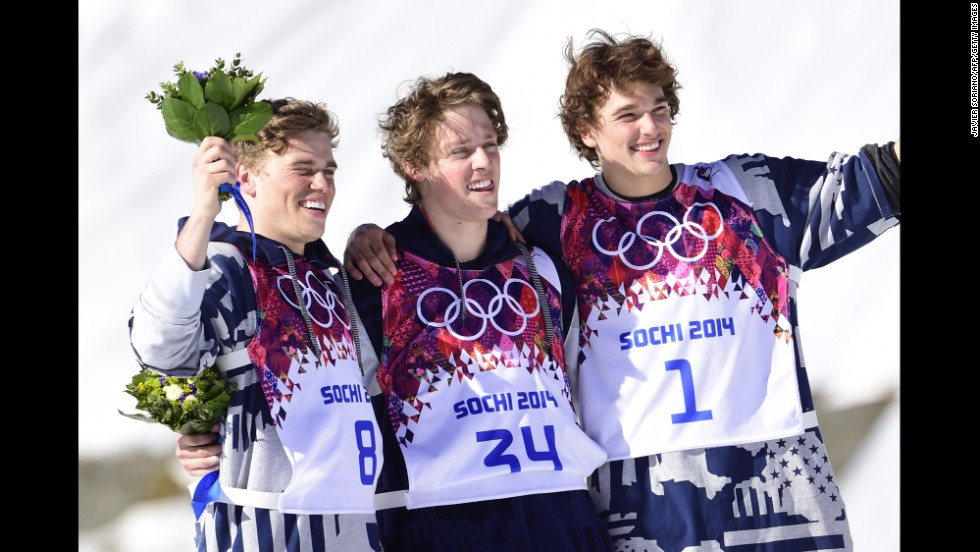 From left, American skiers Gus Kenworthy, Joss Christensen and Nicholas Goepper celebrate after the men's slopestyle competition on February 13. Christensen won gold, Kenworthy won silver and Goepper won bronze for the U.S. sweep.