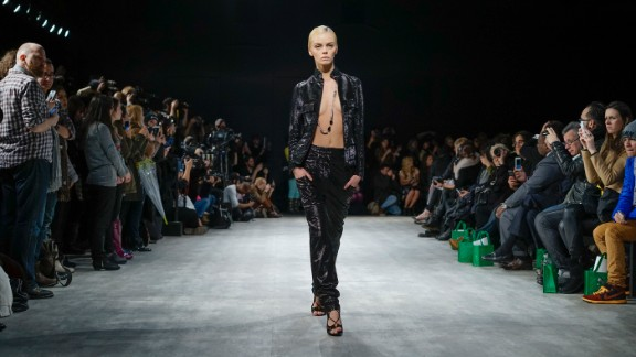Hernan Lander paired leather on leather to create edgy suiting for a model.