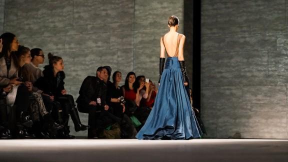 Hernan Lander also added some edge with a backless, full-length dress.