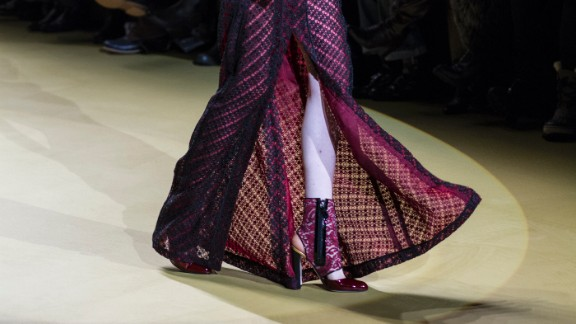 This look from J. Mendel played with jewel tones and geometric blocking.