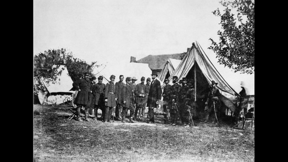 """Another view shows Lincoln with McClellan and his officers at the Antietam battlefield in Maryland. The 1862 battle has been called """"the bloodiest single day in American history"""": 23,000 men were killed or injured. After the battle, Lincoln issued the Emancipation Proclamation, which was quickly dubbed the """"Miscegenation Proclamation"""" by his pro-slavery foes."""