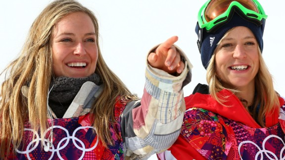 The American's professionalism was rewarded with gold in the inaugural slopestyle event. Anderson is pictured left celebrating with British bronze medalist Jenny Jones.