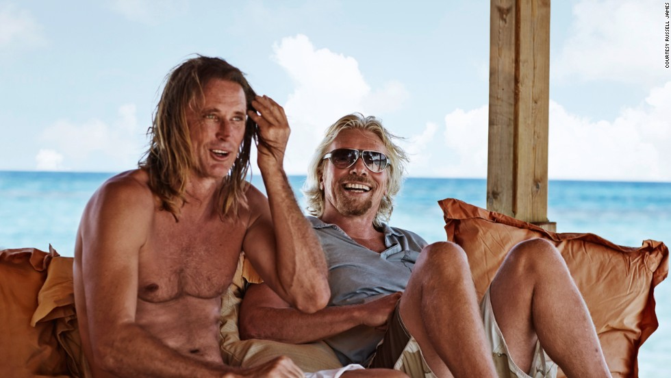Branson (right) relaxes with James. They met by chance on a flight between Sydney and Los Angeles in 2009.