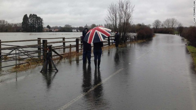 MAIDENHEAD, ENGLAND: CNN's Karen Smith, Brad Cramer & Correspondent Jim Boulden report from the floods in Berkshire County, close to the River Thames (February 14).  More rain and gale force winds are forecast to batter the UK.  With towns close to the River Thames already flooded, more severe weather will prolong and worsen the misery.  Photo by CNN's Jon Steward.  Follow Jon (@jonsteward) and other CNNers along on Instagram at instagram.com/cnn.