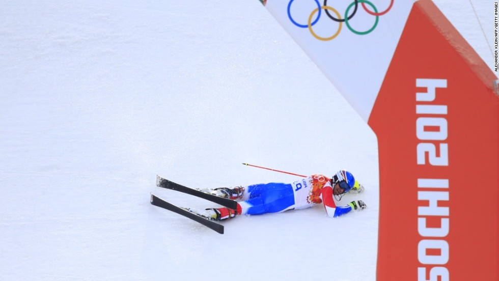 French skier Alexis Pinturault crashes out during the men's super-combined event on February 14.