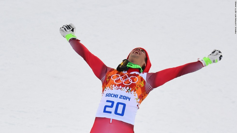 Swiss skier Sandro Viletta celebrates after winning a gold medal in the men's super-combined event on February 14.