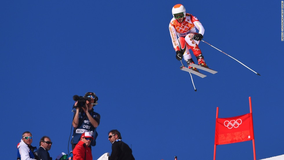 Andorra's Kevin Esteve skis the downhill portion of the men's super-combined event February 14.