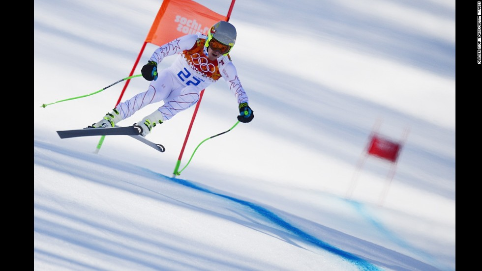 U.S. skier Ted Ligety makes his downhill run during the men's super-combined.