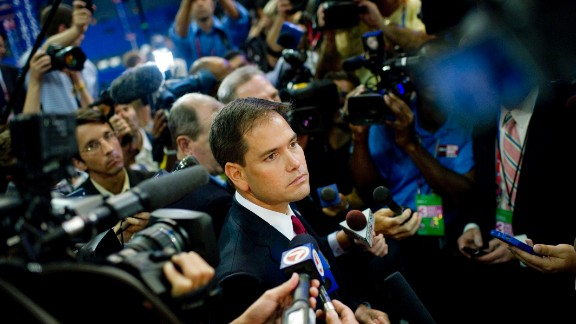 Don't be perceived as a sellout: Tea party darling Sen. Marco Rubio, R-Florida, shown here at the 2012 Republican National Convention, is said to have alienated some Latinos outside his native Florida with positions they consider extreme.