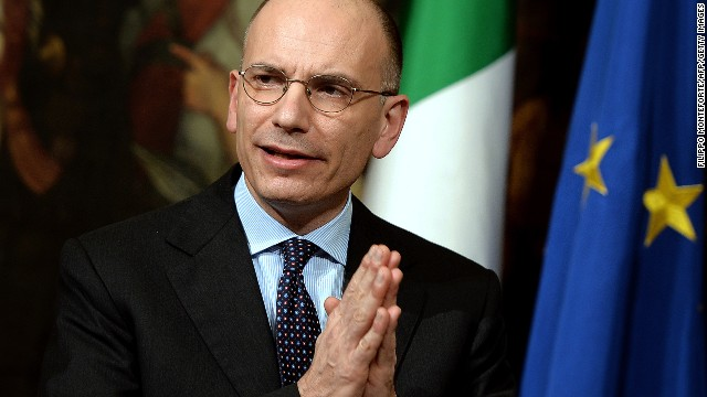 Italian Prime Minister Enrico Letta gives press conference to present a document called ' Italy commitment' with his proposals in Rome's Palazzo Chigi Palace government office on February 12, 2014.