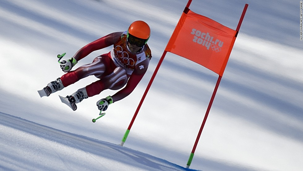 Swiss skier Sandro Viletta competes in the downhill portion of the men's super-combined event on February 14.