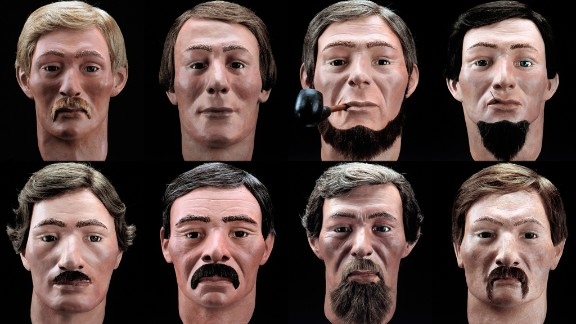 Facial reconstructions of the crew of the Hunley.
