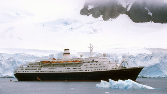 Cruise ship Marco Polo in Paradise Harbor, Antarctica.