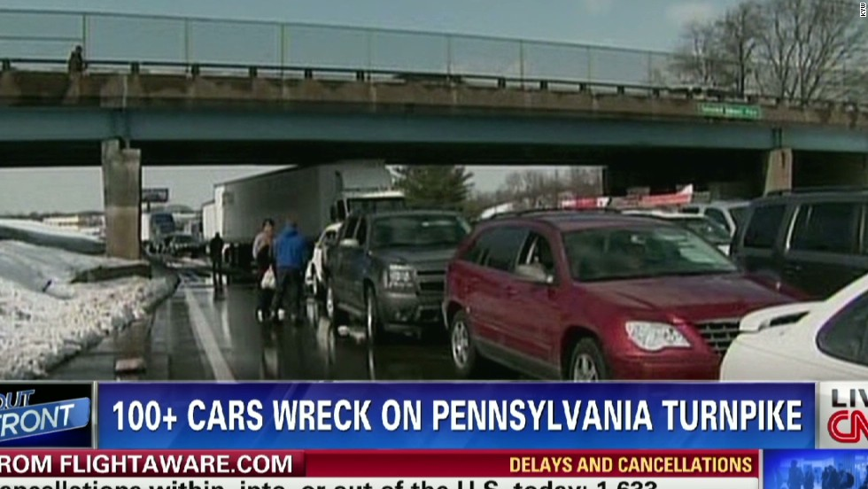100 cars, trucks pile up on PA turnpike - CNN Video
