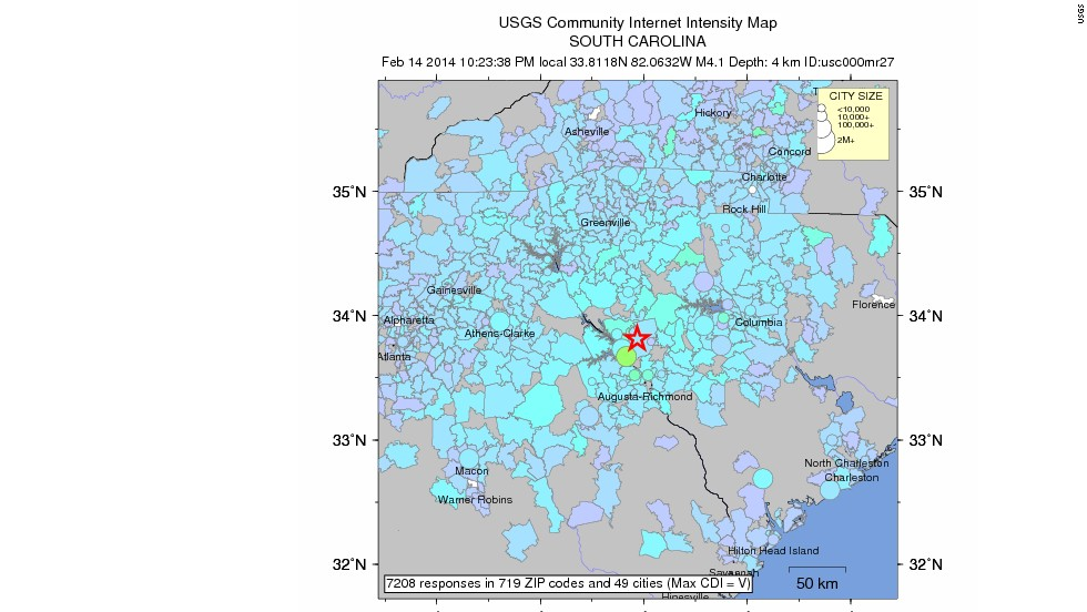 this usgs community internet intensity map shows how many people reported feeling the earthquake