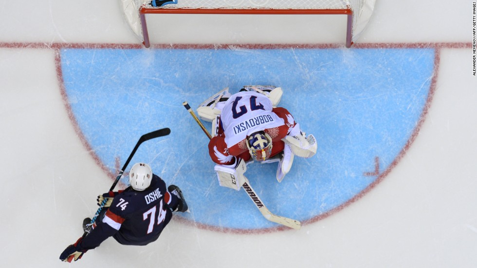 T.J. Oshie of the United States scores a shootout goal during the men's hockey game against Russia on February 15.