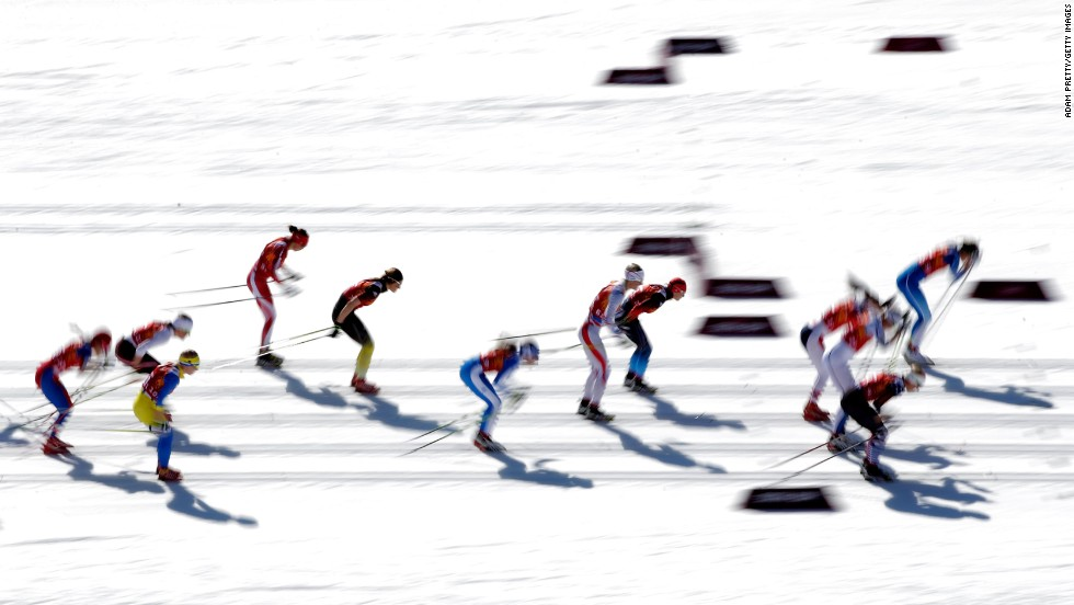 Skiers start the women's cross-country relay on February 15.