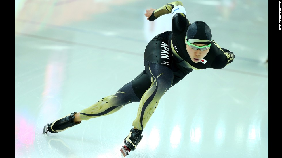 Taro Kondo of Japan competes in the men's 1,500-meter speedskating event on February 15.