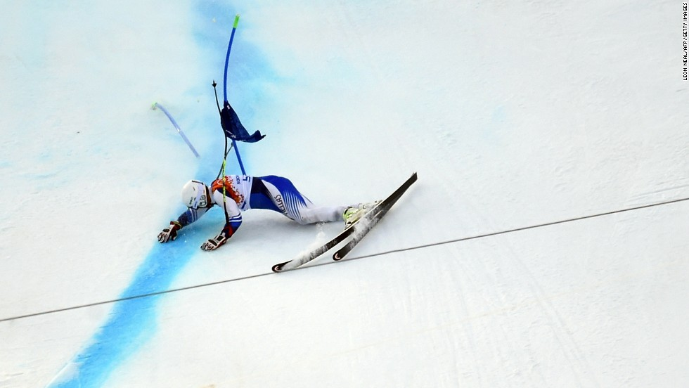 Danish skier Christoffer Faarup crashes during the men's super-G on February 16.