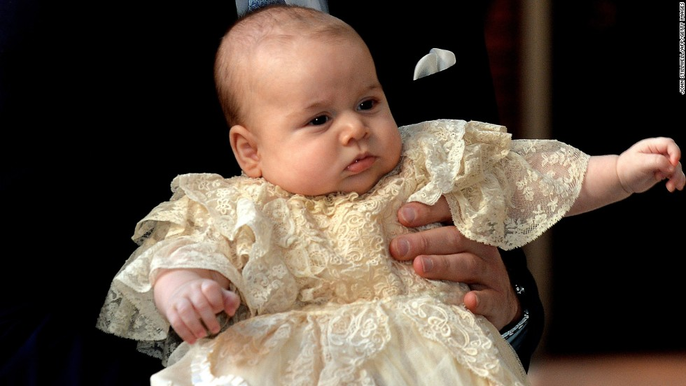 "<a href=""http://www.cnn.com/2014/12/13/world/gallery/prince-george/index.html"" target=""_blank"">Prince George</a> of Cambridge arrives with parents Prince William, Duke of Cambridge, and Catherine, Duchess of Cambridge, for his christening on October 23, 2013."