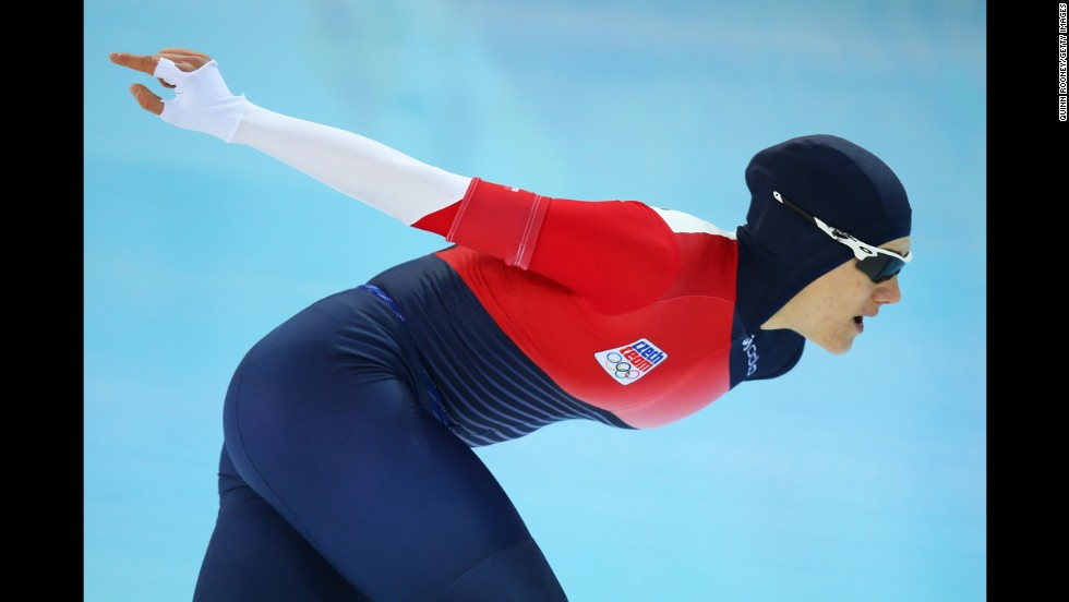 Speedskater Karolina Erbanova of the Czech Republic skates in the women's 1,500 meters on February 16.