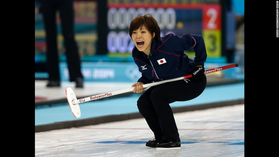 Japan skip Ayumi Ogasawara reacts to a throw during the women's curling match against Switzerland on February 16.