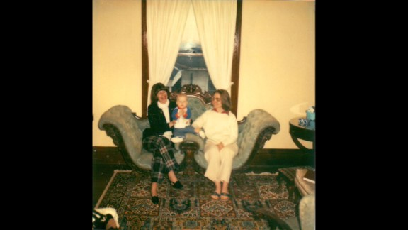 An undated photo of Blair, left, and Hillary Clinton with a young Chelsea Clinton.