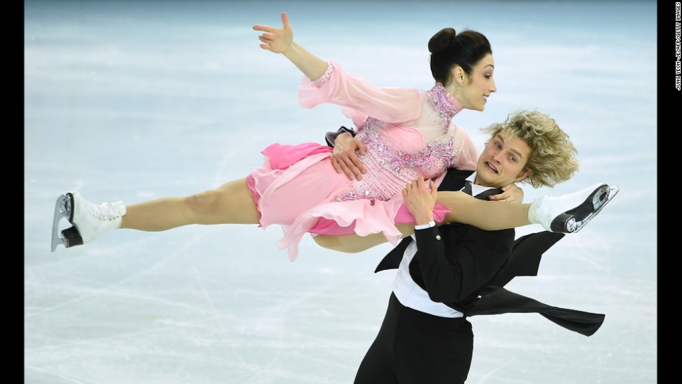 Meryl Davis and Charlie White of the United States skate during the ice dancing event February 16.