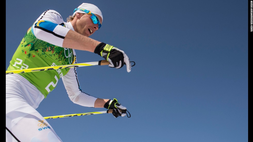 Sweden's Johan Olsson skis during the men's cross-country relay.