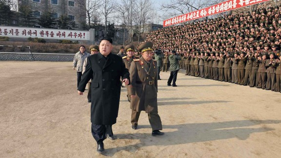 Kim inspects the command of an army unit in this undated photo released Sunday, January 12, by the KCNA.
