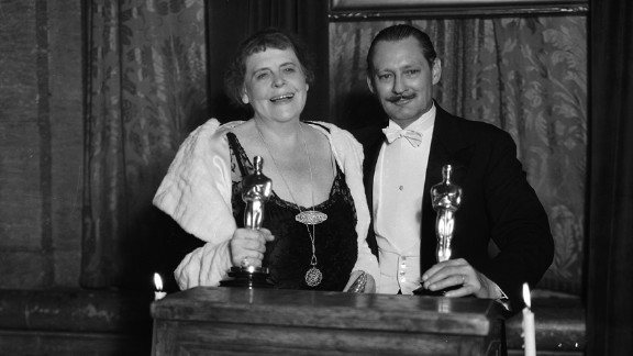 """<strong>Marie Dressler (1931):</strong> Marie Dressler and Lionel Barrymore collect their best actress and best actor Oscars in 1931. Dressler won for """"Min and Bill"""" and Barrymore won for """"A Free Soul."""""""