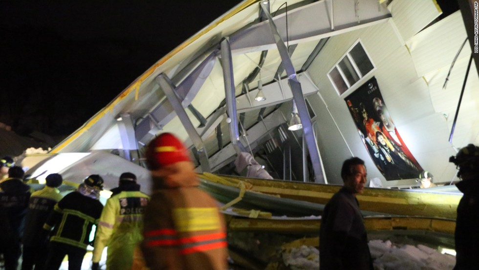 Rescue workers search for survivors after a building collapsed in Gyeongju, South Korea, on Monday, February 17.