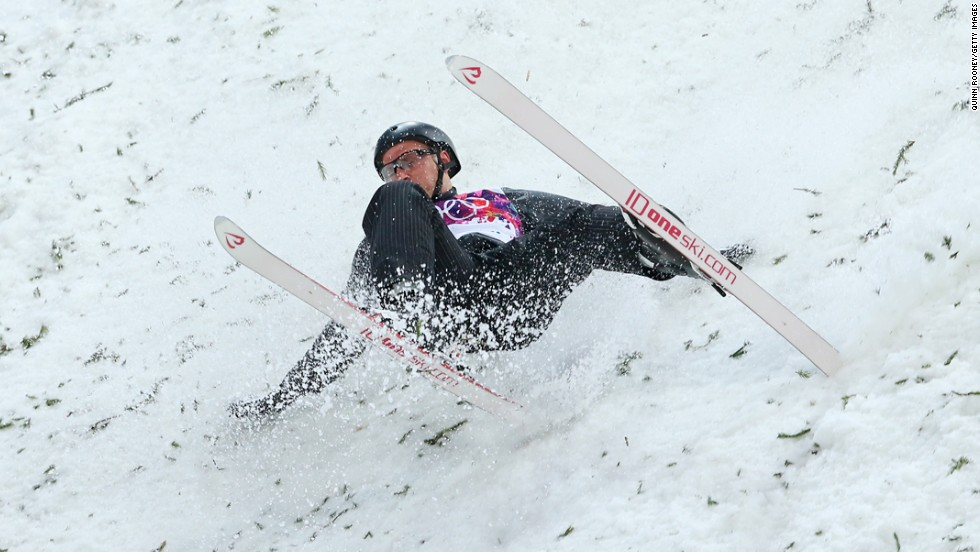 Alexei Grishin of Belarus crashes in men's aerials.