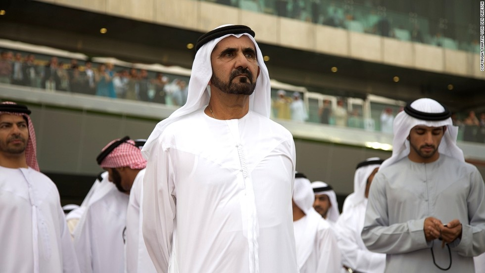 Dubai's ruler Sheikh Mohammed bin Rashid Al Maktoum (center) is one of horse racing's most prominent owner/breeders and is always an interested observer at the Dubai World Cup.