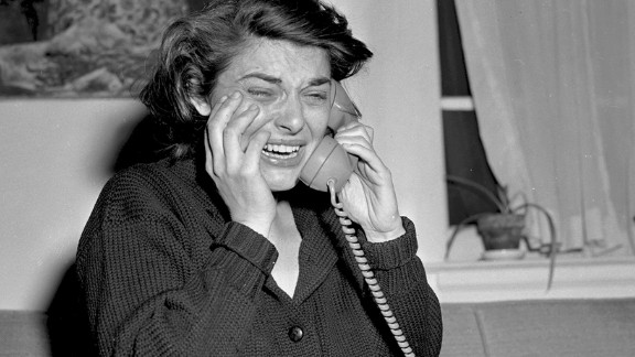 """<strong>Anne Bancroft (1963):</strong> Anne Bancroft cries in her New York apartment as she accepts a congratulatory phone call following her win for """"The Miracle Worker."""""""