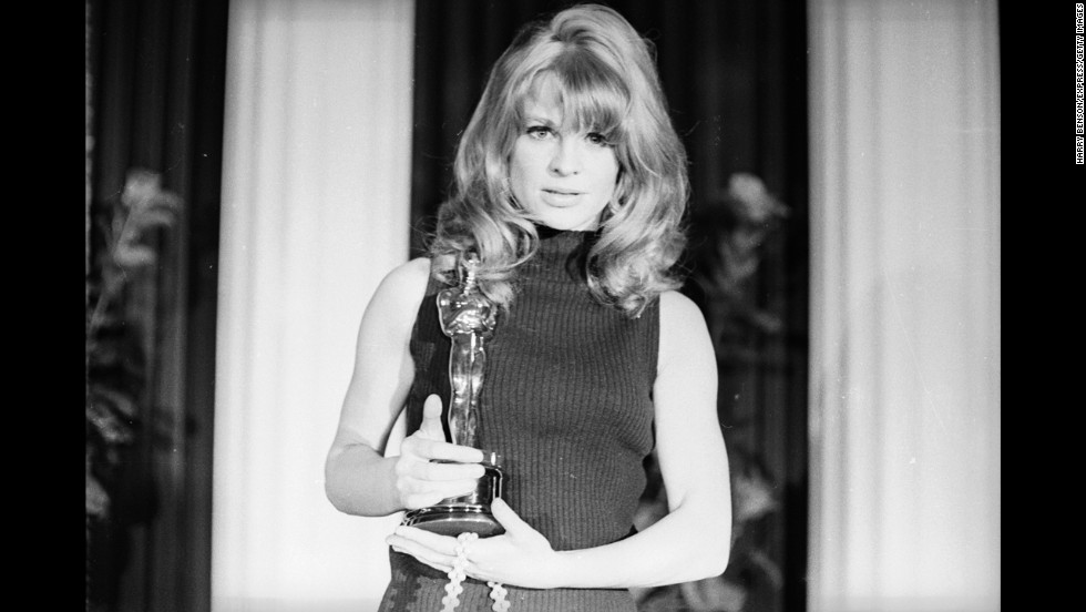 "Julie Christie is seen with her Academy Award, which she won for her role in ""Darling."""