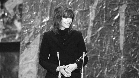 """<strong>Jane Fonda (1972):</strong> Jane Fonda cradles the best actress Oscar she received for """"Klute."""""""