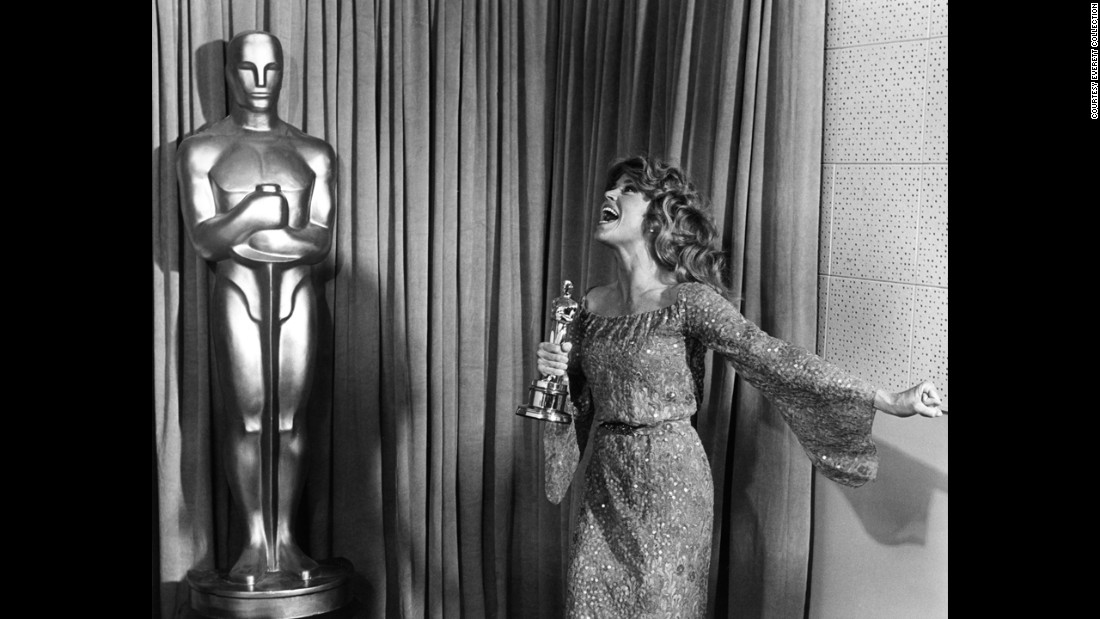 "Jane Fonda is ecstatic about winning her second Academy Award, this one for ""Coming Home."""