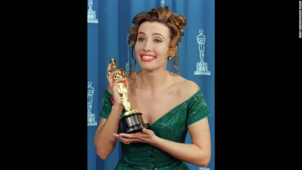 "Emma Thompson poses with her Oscar after winning best actress for her role in ""Howards End."""