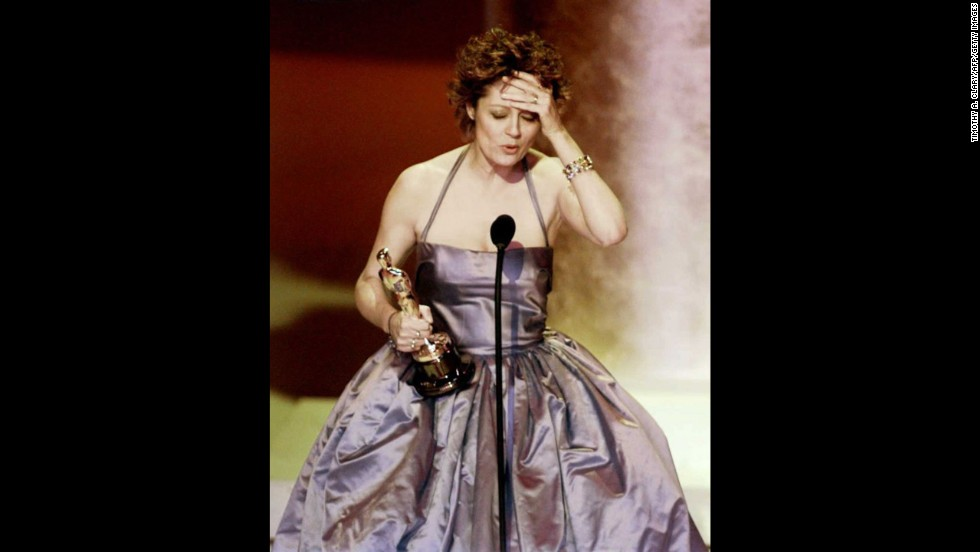"Susan Sarandon accepts the Oscar for her role in ""Dead Man Walking."""