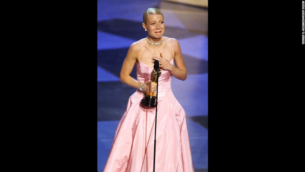 "Gwyneth Paltrow cries as she receives the best actress Oscar for ""Shakespeare in Love."""