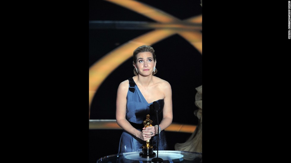 "Kate Winslet reacts after winning the best actress Oscar for ""The Reader."""