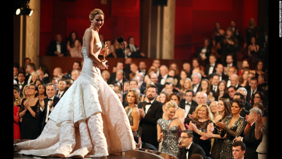 "Jennifer Lawrence is two for two with her Oscar appearances. After slinking into the 2011 ceremony in an impossible-to-miss gown, Lawrence opted for a less body-conscious style in 2013. The voluminous Dior Couture dress was buoyant without swallowing the actress whole -- even though it did trip her up as she went to accept the best actress Oscar for ""Silver Linings Playbook."""